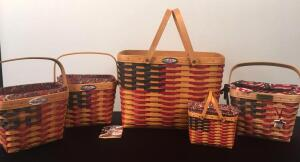 Lot of 5 25th Anniversary Longaberger Baskets