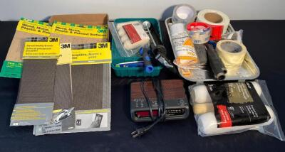 Painting Supplies, Sandpaper, Radio