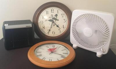 Table Fan, Clocks and CD Holder