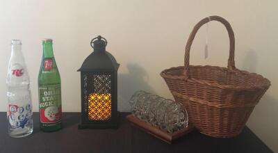 Basket, Battery Operated Lantern, 7-Up and RC Bottles, Glass Coasters