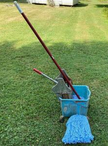 Vintage Mop Bucket and Mops