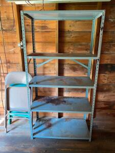 Metal Shelving Unit, Chair and Step Ladder