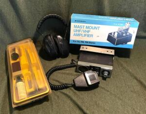 CB Radio, Amplifier, Gun Cleaning Kit & Earmuffs