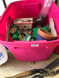 Tote of Lawn & Garden Items