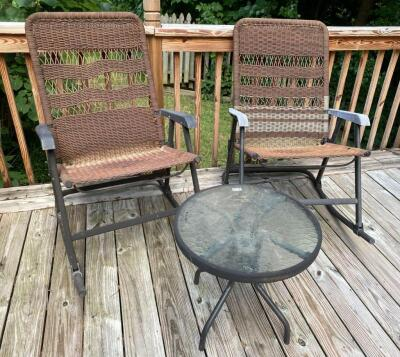 Folding Patio Rockers and Table