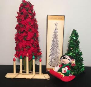 Holiday Christmas Trees, Mickey Mouse Piece, Vintage Mantle Lights