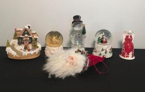 Assorted Holiday Water Globes and Santa Ornament
