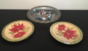 Lot of 3 Holiday Platters