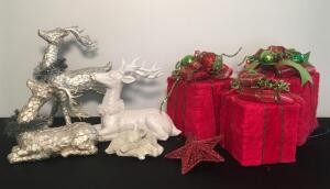 Lot of Holiday Gift Box Decor and Deer Figurines