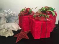 Lot of Holiday Gift Box Decor and Deer Figurines - 3