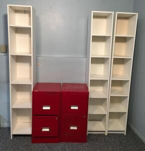 Pair of File Cabinets, 3 Shelving Units