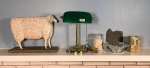 Desk Lamp, Candle, Slate Piece, Mikasa? Dish, Marble Piece