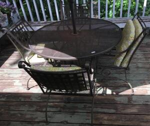 Wrought Iron Patio Set w/ Spring Chairs and Umbrella