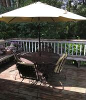Wrought Iron Patio Set w/ Spring Chairs and Umbrella - 2