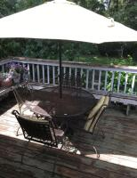 Wrought Iron Patio Set w/ Spring Chairs and Umbrella - 3