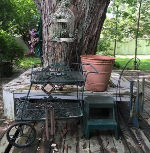 Wrought Iron Cart, Wind Chimes, Planter & Misc.