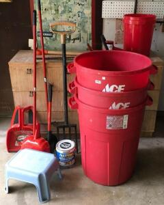 Ace Trash Cans, Hedge Trimmers, Step Stool, Broom, Dust Pans
