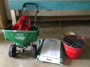 Scott's Spreader, Potting Soil, Dust Pans, Etc.