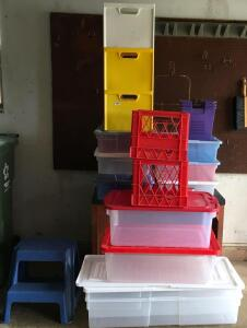 Storage Totes & Step Stool