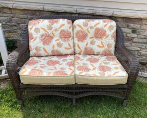Vinyl Wicker Loveseat with Cushions