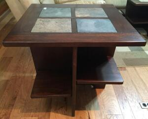 End Table With Slate Tile Inserts