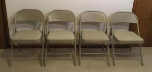 4 Padded Folding Metal Chairs