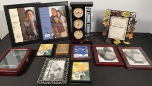 Lot of Picture Frames & Galileo Thermometer Desk Set