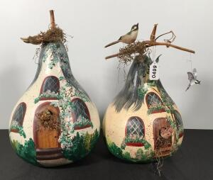 Pair of Painted Gourds