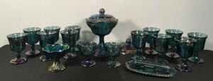 12 Carnival Goblets, Candy Dish, Etc.