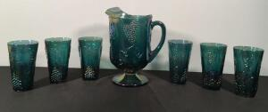 Carnival Glass Pitcher & Glasses