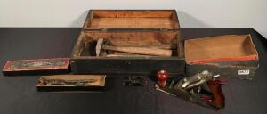 Vintage Wooden Tool Box, Irwin Drill Bits, Hand Plane