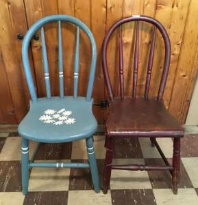 Pair of Vintage Straight Back Chairs