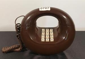 Brown Vintage Push Button Telephone