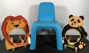 Child's Plastic Chair & Wooden Cut Out Animals