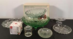 Footed Fruit Bowl & Relish Trays, Etc.