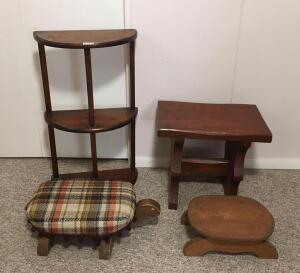 Turtle Footstools & Shelf, Wooden Stand