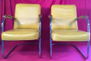 Pair of Yellow MCM Troy Sunshade Patio Chairs
