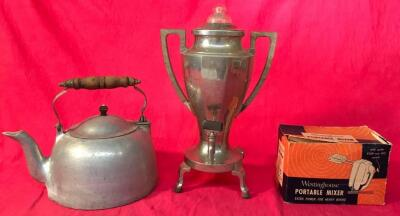 Universal Percolator, Westinghouse Mixer, Tea Kettle