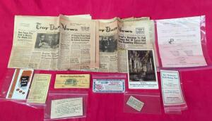 Vintage Troy Daily News Papers, Bank Notes & Misc.