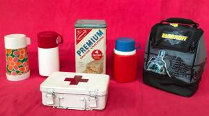 Lot of Vintage Thermos', First Aid Kit and Saltine Tin