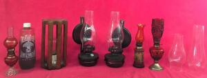 Lot of Oil Lamps and Incandescent Bulb