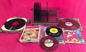 Lot of Vintage Records and Lyric Record Holder
