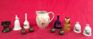 Blue Ridge Pitcher and Assorted Bells