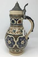 German .5L Pewter Lidded Pottery Pitcher Stein