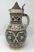 German .5L Pewter Lidded Pottery Pitcher Stein - 3