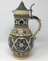 German .5L Pewter Lidded Pottery Pitcher Stein - 4