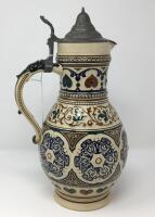 German .5L Pewter Lidded Pottery Pitcher Stein - 6