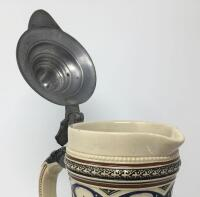 German .5L Pewter Lidded Pottery Pitcher Stein - 8