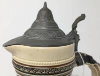 German .5L Pewter Lidded Pottery Pitcher Stein - 10