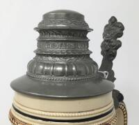 German 1L Engraved Pewter Lidded Stein - 9